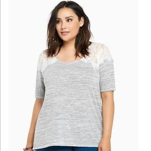 Torrid Hacci Knit Lace Yoke Top 1X Grey